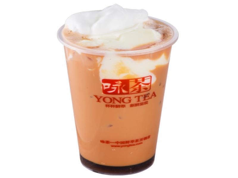 咏茶饮品-焦糖布甸蜜爱雪顶奶茶