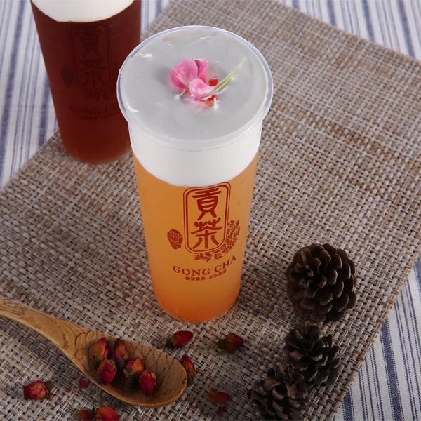御质贡茶茶饮-白桃爱玉奶盖茶