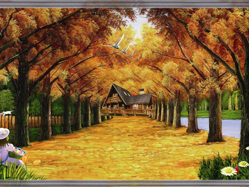 紫荆之家集成墙饰-碳晶壁画