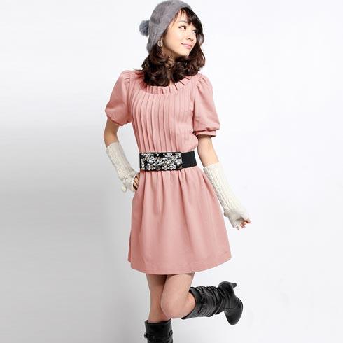 韩版粉红色裙子