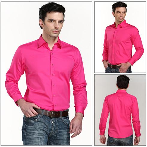 男士桃红色衬衫