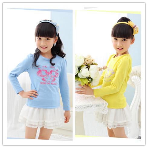 女童长袖圆领纯棉T恤