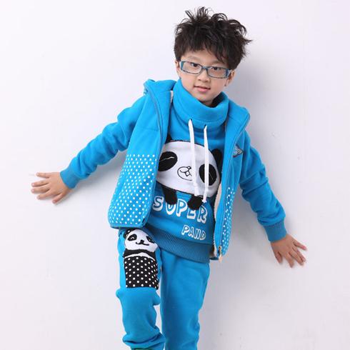 酷米3D童装-蓝色熊猫三件套