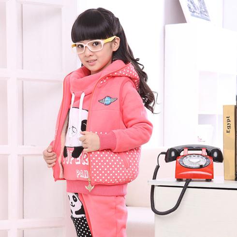 酷米3D童装-粉色熊猫三件套