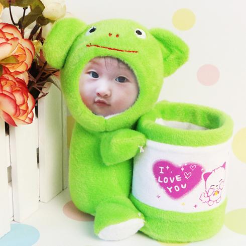 脸蛋公仔-绿色小萌熊