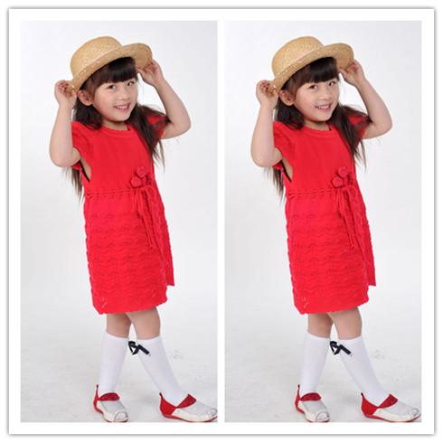 新款韩版女童大红色连衣裙