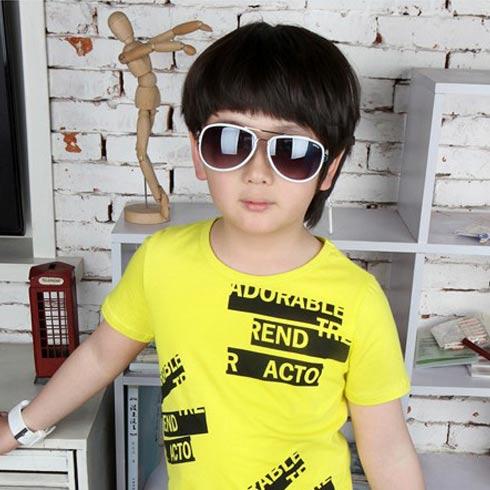 男童烫印时尚字母印花T恤