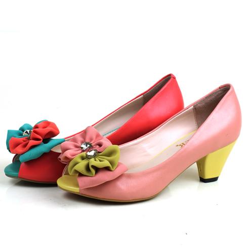麦丽尔欧美风尚彩色设计高跟鞋