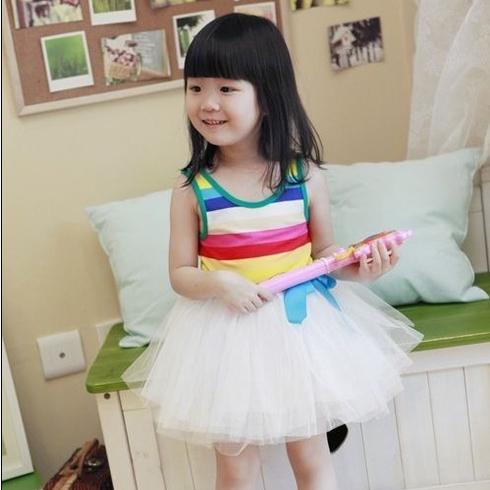 女童夏装彩虹蓬蓬儿童连衣裙