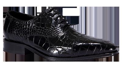 图伯瑞皮鞋英伦伯爵系列-黑色法国鳄鱼皮英伦皮鞋