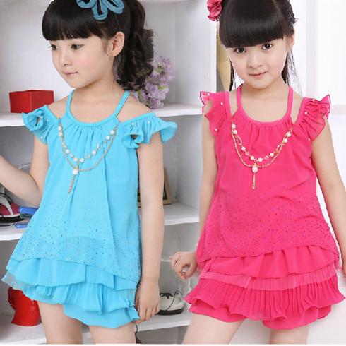 韩版雪纺女童裙裤吊带套装