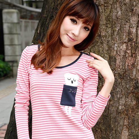 粉白条纹T恤