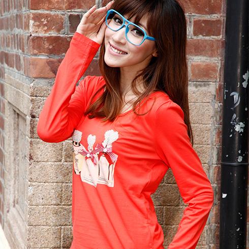 橙色修身T恤新款