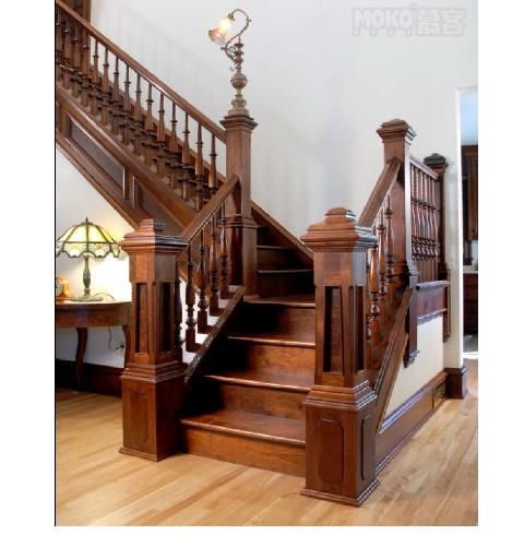 欧式古典实木楼梯,欧式风格实木楼梯