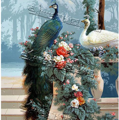 圣地亚装饰手绘墙纸-孔雀花园