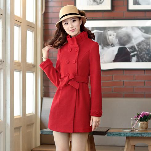 韩版百褶立领双排扣长袖大红色毛呢外套