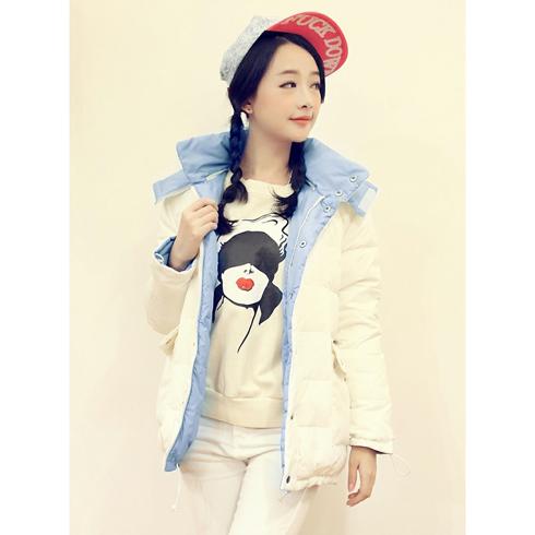 韩版收腰加厚保暖两面穿短款羽绒服外套