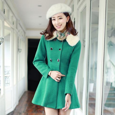 韩版双排扣外套翠绿色毛呢中款