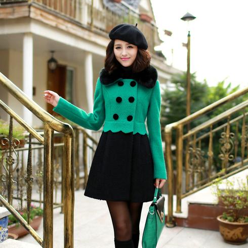 时尚修身绿黑色拼色大衣