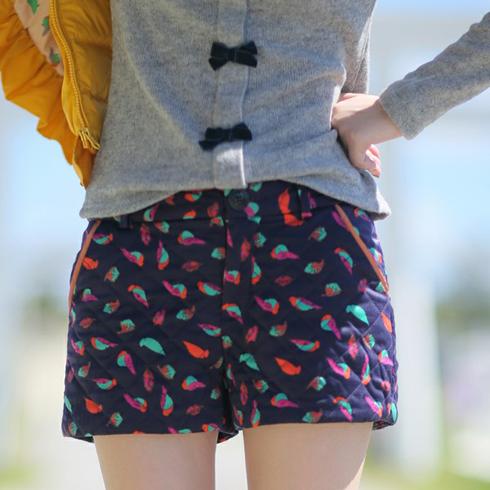 甜美彩色时尚加厚夹棉短裤靴裤
