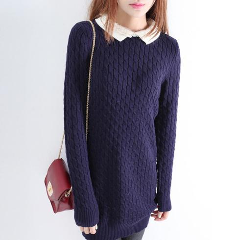 娃娃领蕾丝翻边加厚中长款套头针织毛衣