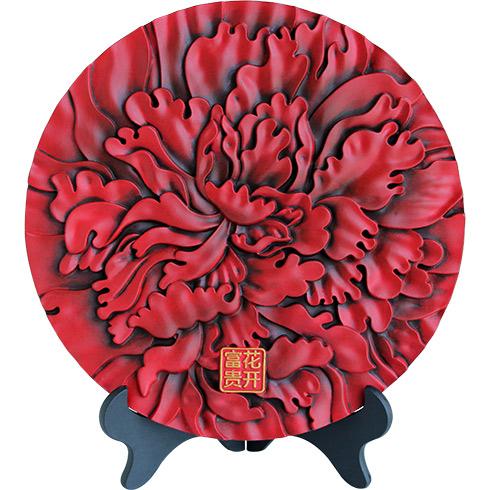 金乌炭雕花开富贵盘