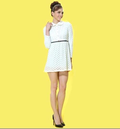 艾丽哲女装韩版气质修身显瘦雪纺边衣裙