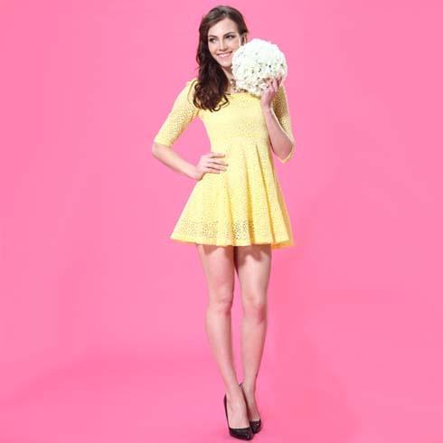 艾丽哲女装韩版百搭蕾丝紧身显瘦中袖风连衣裙