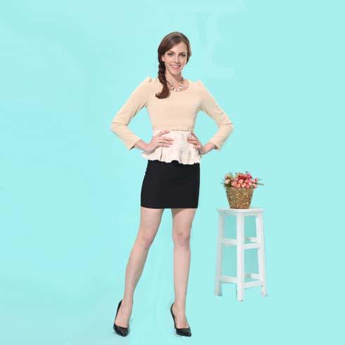 艾丽哲女装韩版荷叶边上衣包臀洋短裙