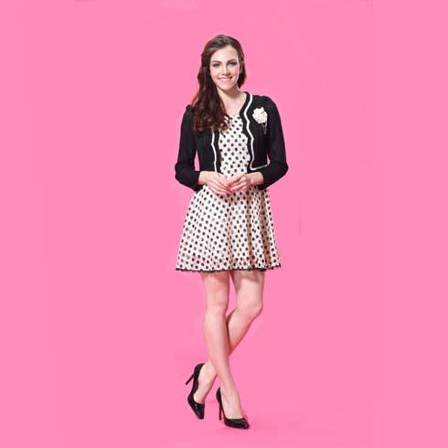艾丽哲女装韩版时尚气质波点百搭连衣裙