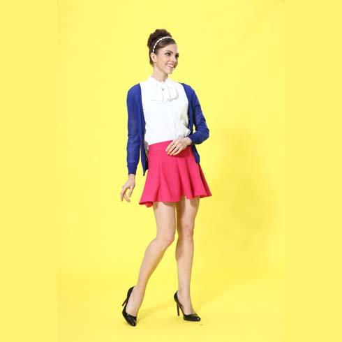 艾丽哲女装韩版修身外套长袖搭配粉色褶皱甜美裙