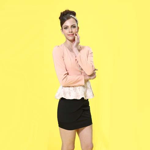 艾丽哲女装时尚荷叶蕾丝边上衣褶皱包臀修身短裙