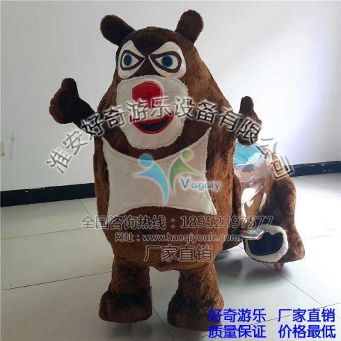 好奇游乐研发生产的毛绒动物电动车款式新颖卡通