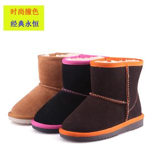 2013新款儿童雪地靴品牌童鞋批发 时尚撞色真皮中小童棉鞋棉靴子