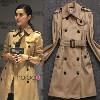 系腰带双排扣冬季风衣大衣女装外套