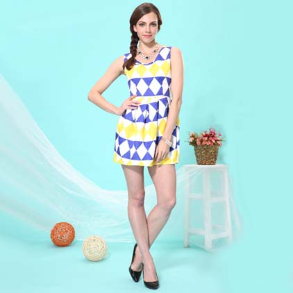艾丽哲无袖领颜色拼接时尚连衣裙