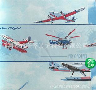 儿童房飞机壁纸贴图