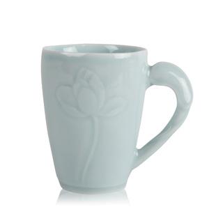 景德镇手工创意陶瓷杯子 青釉浮雕莲花把手水杯 创意家居礼品定制