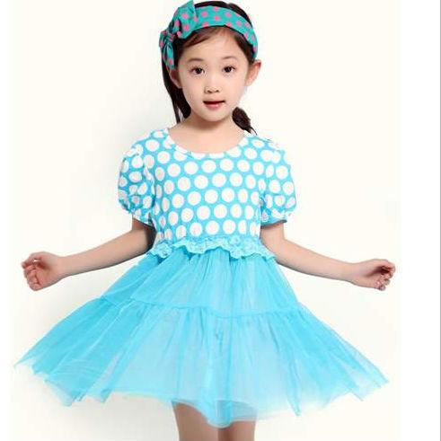 蓝色波点裙