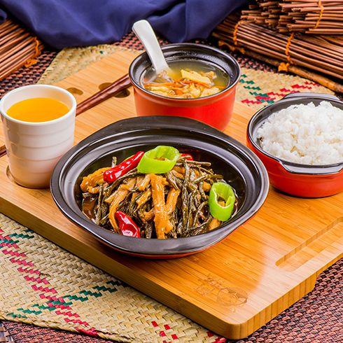 阿宏砂锅饭快餐-香辣闷干菜