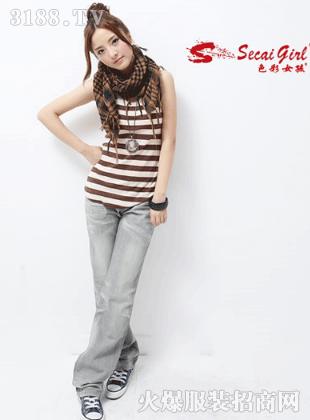 色彩女孩新款牛仔裤