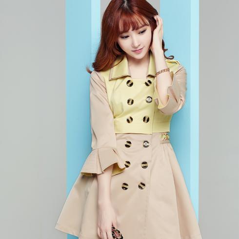 酷库女装产品-韩版中长款双排扣风衣