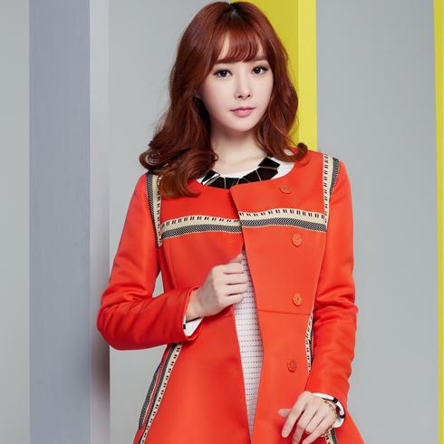 酷库女装产品-橘红色中长款长袖OL圆领外套