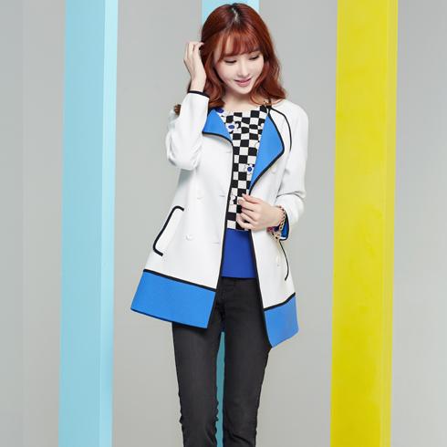 酷库女装产品-蓝白色镶黑边长袖中长款外套