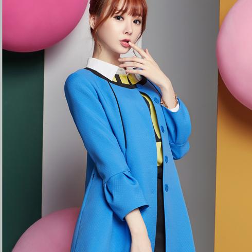 酷库女装产品-女款风衣长袖韩版修身秋款中长款外套