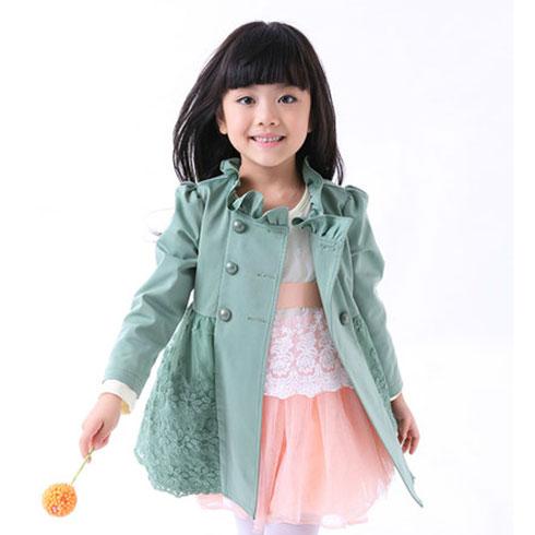蕾丝拼接薄荷绿外套