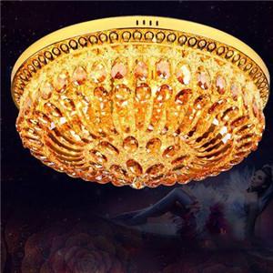 樱克斯灯饰产品-金色圆形大气欧式水晶吸顶灯