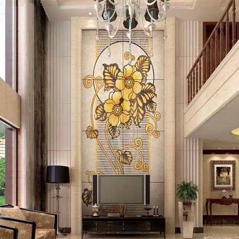 背景墙芳花吐蕊产品采用全抛釉的芳花吐蕊 精雕 镶嵌人造玉石雕花工艺图片