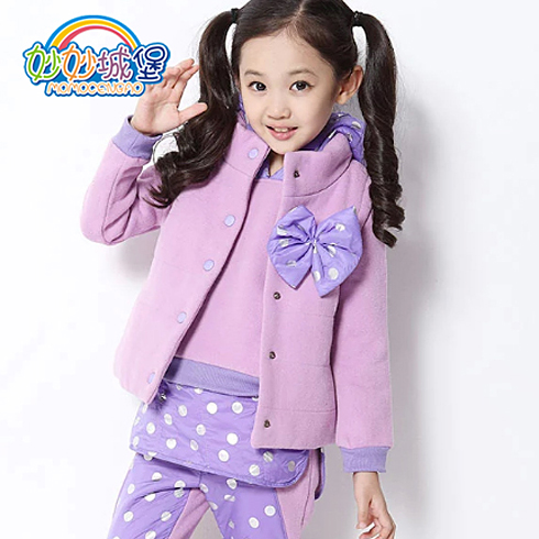 妙妙城堡童装产品-女童加绒卫衣运动套装
