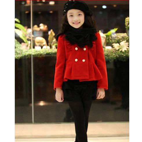 巴笛小宝品牌童装产品-韩版冬装加厚加绒大衣中大儿童毛呢外套
